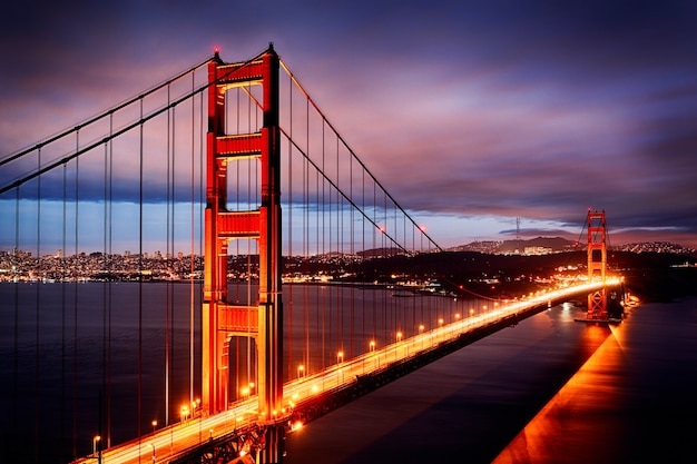 Night scene with golden gate bridge and san francisco lights