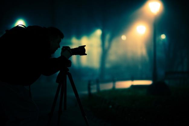 Night shooting photographer