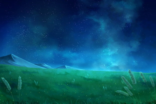 Night sky clouds - anime background.