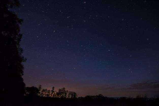The night sky has stars