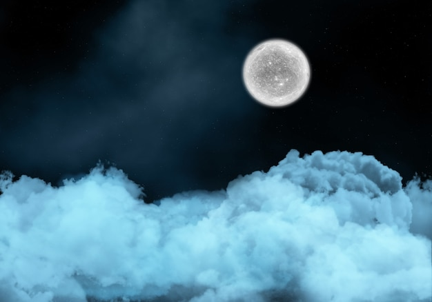 Night sky with fictional moon above clouds