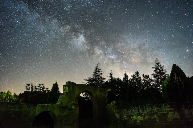 スペインの森と遺跡の上の天の川と夜空