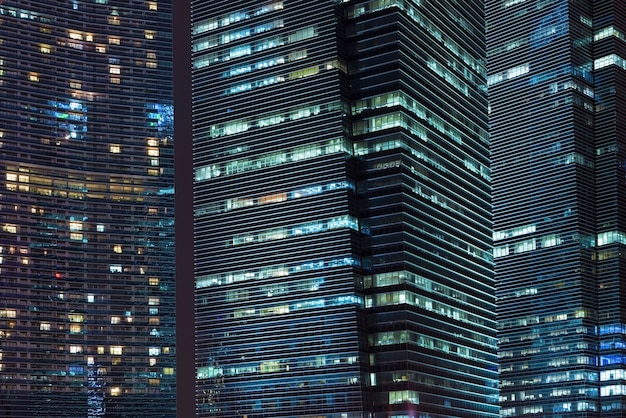 Night skyscrapers illumination in  singapore downtown