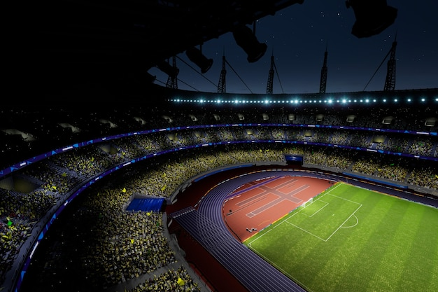 Night soccer stadium arena with crowd fans  high quality photo render