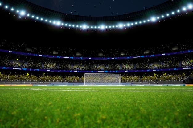 群衆のファンがいる夜のサッカースタジアムアリーナ高品質の写真レンダリング