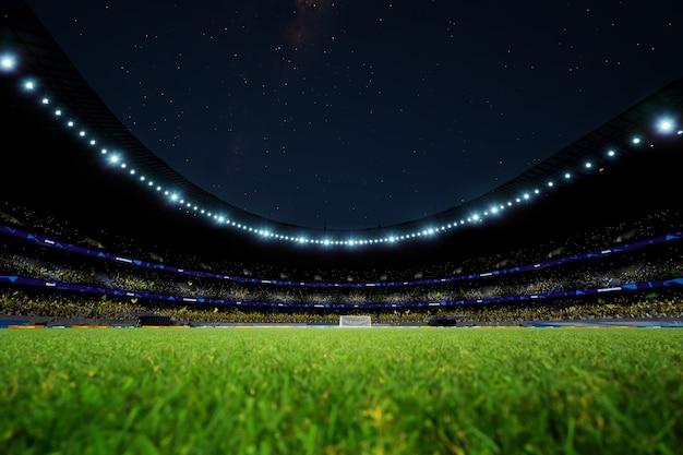 Арена ночного футбольного стадиона с толпой фанатов высокого качества фото рендеринга