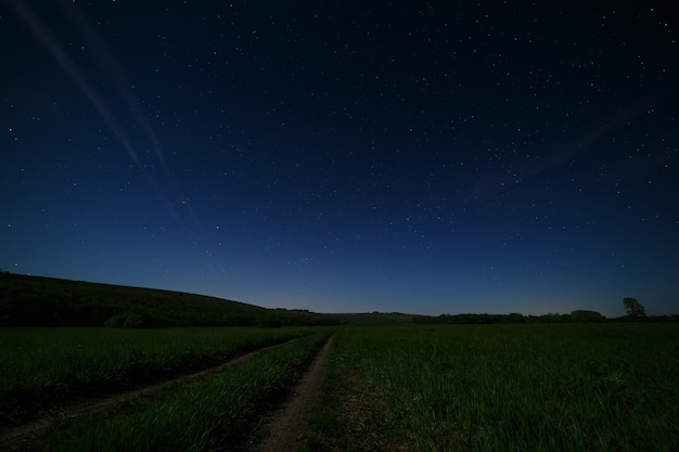 Night starry sky above the road in the countryside.