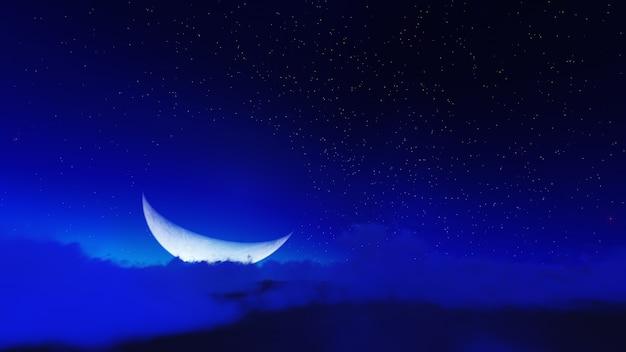 空の夜の星と月の雲