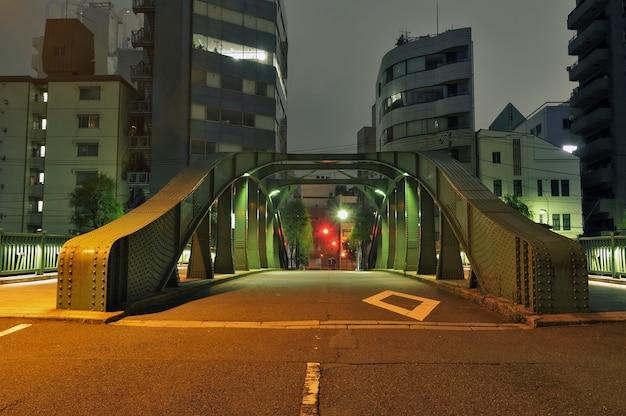 Night street passing through metallic arc bridge in tokyo