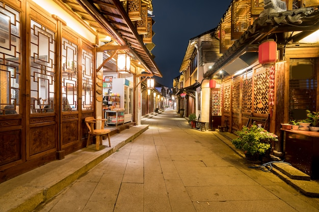 At night, the streets of zhouzhuang ancient town, suzhou, china