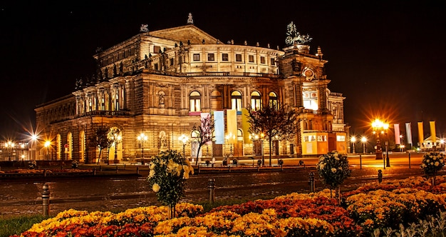 Night summer beautiful view of state opera house, dresden, germany, europe.