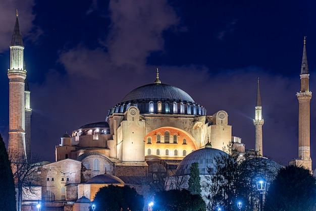 Night time over hagia sophia or hagia sophia church of the holy wisdom in istanbul, turkey