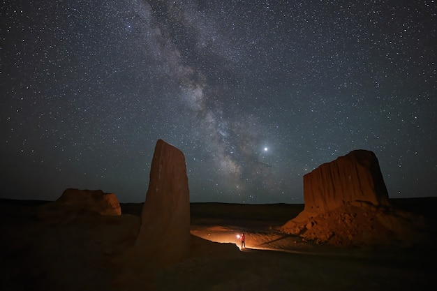 Night time long exposure landscape photography. the milky way