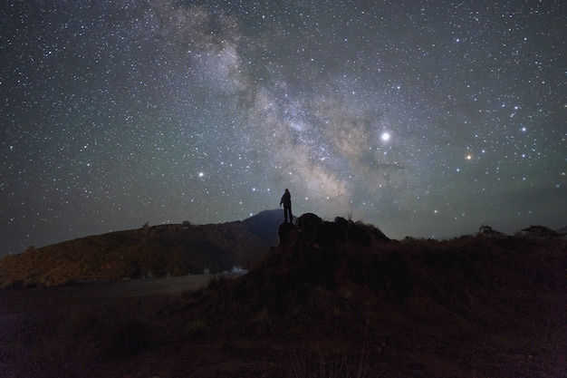 Night time long exposure landscape photography.the milky way