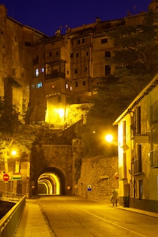 Night view of albarracin with tunnel