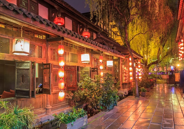 The night view of the ancient town of chengdu