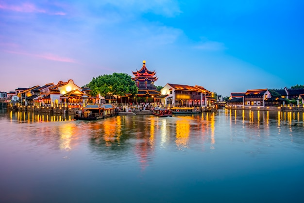 The night view of the ancient town of suzhou mountain