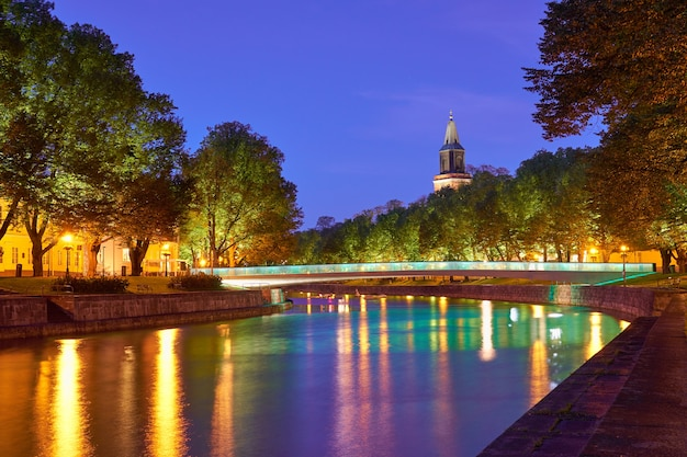 The night view of aura river in turku, finland