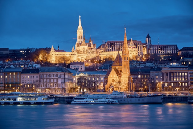 Night view of the buda area from pest in budapest (hungary)