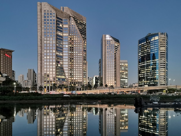 Night view of buildings on marginal and river pinheiros.