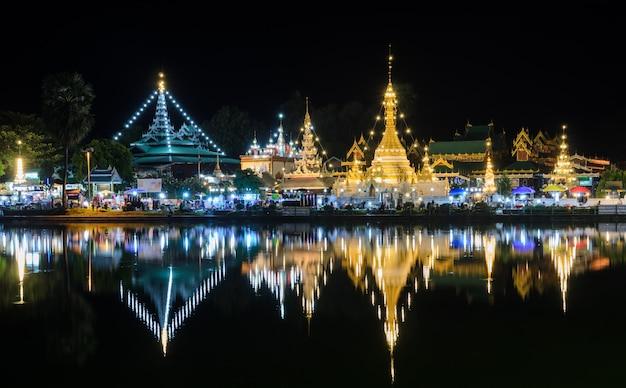 Night view of burmese style temples in mae hong son, thailand