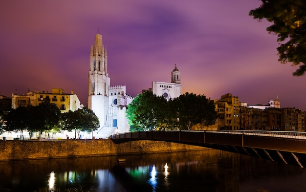 Night view of girona -  church of sant feliu and cathedral