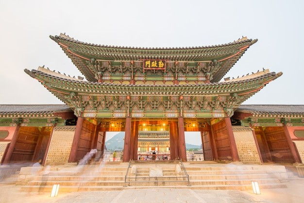 The night view of gyeongbokgung palace