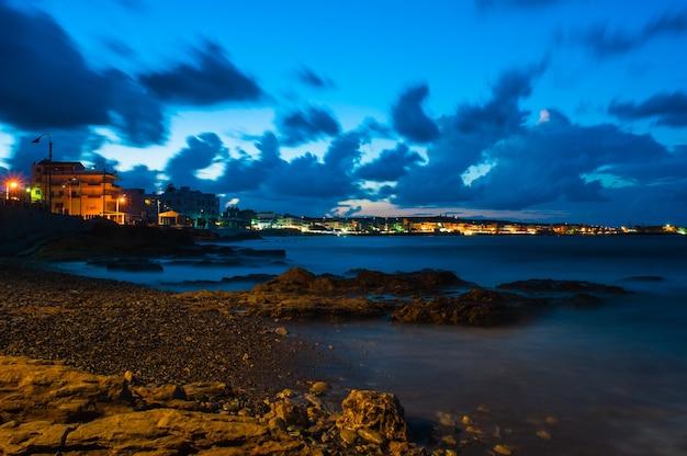 Night view of hersonissos on crete.