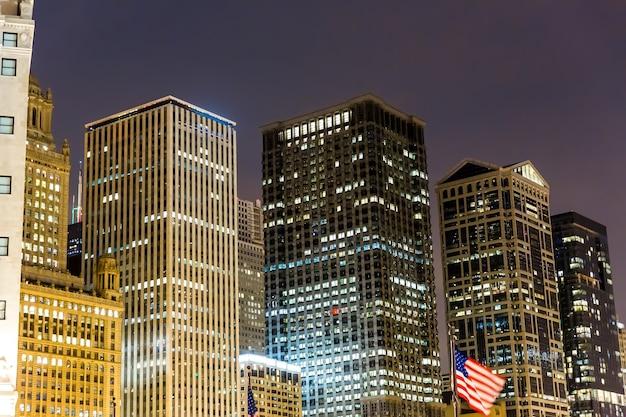 Night view of illuminated business center. night urban life