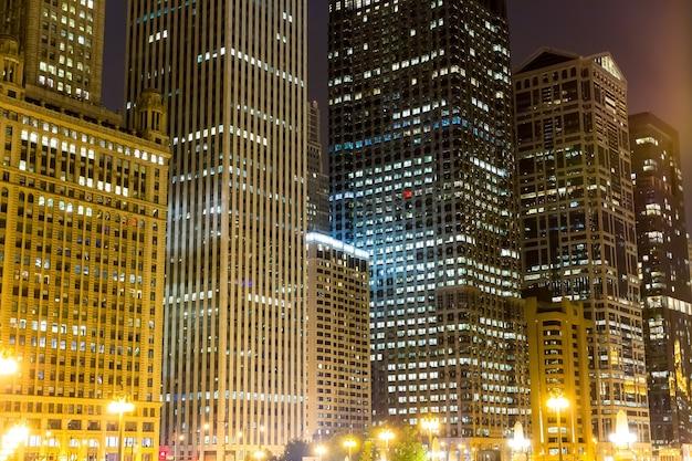 Night view of illuminated business center.