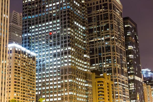 Night view of illuminated business center