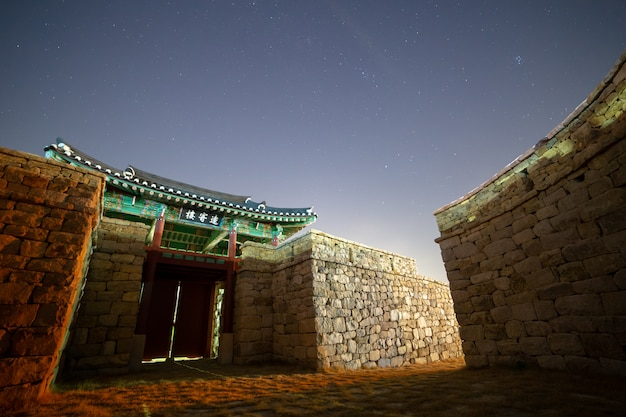 The night view of the korean traditional castle