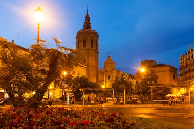 Night view of micalet tower and cathedral. valencia, spain