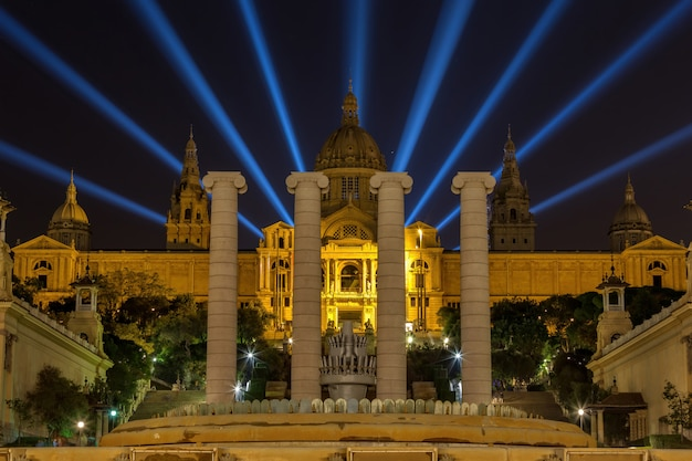 Night view of national museum in barcelona, spain