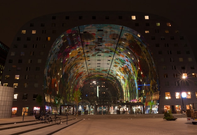 Night view of new and colored market hall in rotterdam,