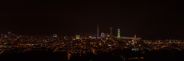도시의 야경. 흑해 기술 대학, 래디슨 블루 호텔, 포르타 바투미 타워, 알파벳 타워 및 항구