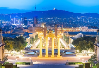 Night view of Plaza de Espana with Venetian towers. Barcelona