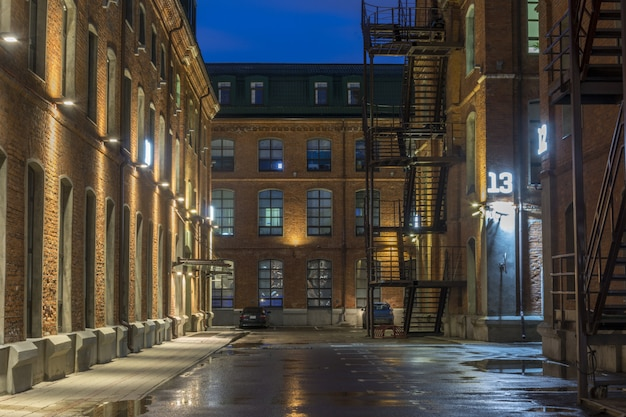 Night view of the old industrial quarter after the rain