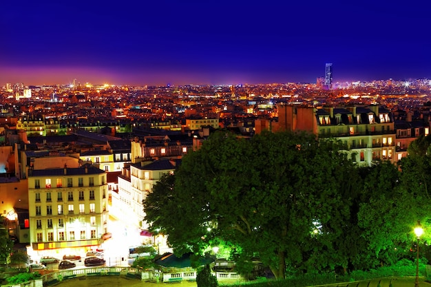 Night view of paris from the hill of montmartre.paris. france