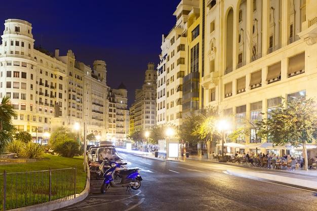 Night view of placa del ajuntament. valencia