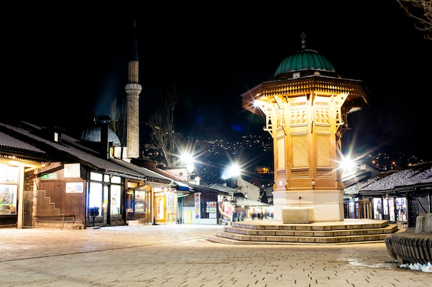 Night view of the sebilj, wooden fountain in sarajevo