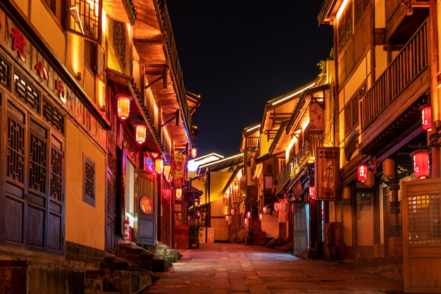 Night view of town streets in chongqing