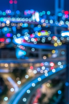 Night view of urban traffic with cityscape