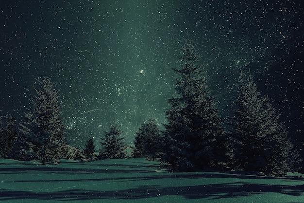 눈 속에서 나무와 밤 겨울 풍경입니다. 맑은 하늘에 별. 빈티지 스타일 화, 복고풍 필름 필터