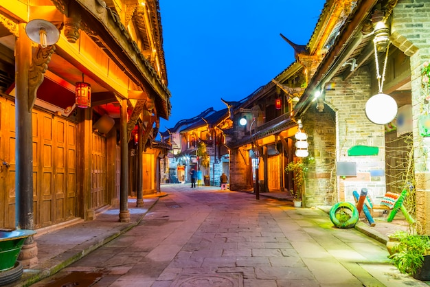 Nightscape of chengdu ancient town, sichuan province, china