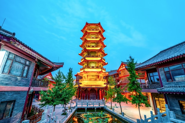 Nightscape of qingzhou ancient city, shandong province, china