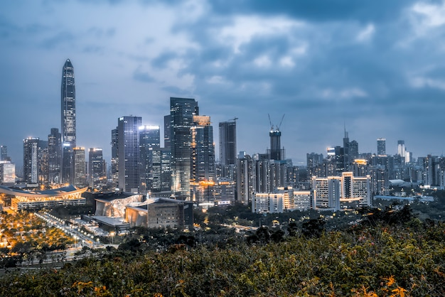 Nightscape of shenzhen city and architecture