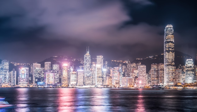 Nightscape and skyline of urban architecture in hong kong