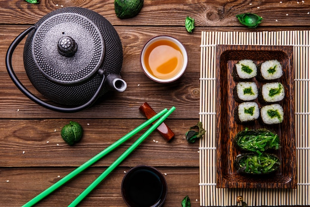 Nigiri and chopsticks