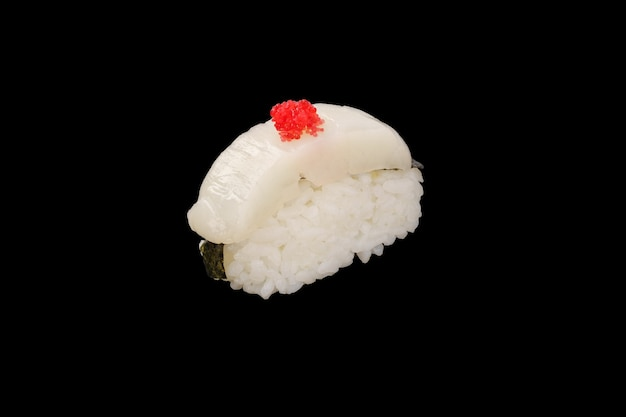 Nigiri sushi scallop, tobiko caviar, nori isolated